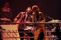 LONDON, ENGLAND - APRIL 12: Will Butler and Richard Reed Parry of 'Arcade Fire' performing at SSE Arena on April 12, 2018 in London, England.<br /> CAP/MAR<br /> &copy;MAR/Capital Pictures