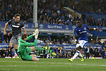 Idrissa Gueye of Everton scores the second goal past Dante Stipica of Hajduk Split during the Europa League Qualifying Play Offs 1st Leg match at Goodison Park Stadium, Liverpool. Picture date: August 17th 2017. Picture credit should read: David Klein/Sportimage