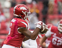 Hawgs Illustrated/BEN GOFF <br /> T.J. Hammonds, Arkansas running back, catches a pass for 4 yards in the second quarter against Mississippi State Saturday, Nov. 18, 2017, at Reynolds Razorback Stadium in Fayetteville.