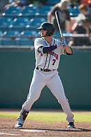 Lancaster JetHawks center fielder Forrest Wall (7) at bat during a California League game against the San Jose Giants at San Jose Municipal Stadium on May 12, 2018 in San Jose, California. Lancaster defeated San Jose 7-6. (Zachary Lucy/Four Seam Images)