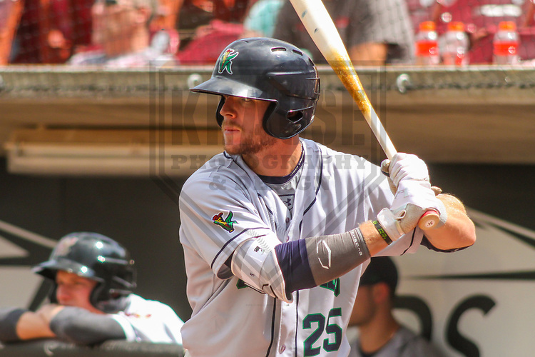 Cedar Rapids Kernels third baseman Trey Cabbage (25)  during a Midwest League game against the Wisconsin Timber Rattlers on August 6, 2017 at Fox Cities Stadium in Appleton, Wisconsin.  Cedar Rapids defeated Wisconsin 4-0. (Brad Krause/Krause Sports Photography)