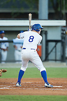 Kort Peterson (8) of the Burlington Royals at bat against the Princeton Rays at Burlington Athletic Stadium on August 12, 2016 in Burlington, North Carolina.  The Royals defeated the Rays 9-5.  (Brian Westerholt/Four Seam Images)