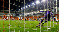 Blackpool's Nathan Shaw misses a penalty<br /> <br /> Photographer Alex Dodd/CameraSport<br /> <br /> The FA Youth Cup Third Round - Blackpool U18 v Derby County U18 - Tuesday 4th December 2018 - Bloomfield Road - Blackpool<br />  <br /> World Copyright &copy; 2018 CameraSport. All rights reserved. 43 Linden Ave. Countesthorpe. Leicester. England. LE8 5PG - Tel: +44 (0) 116 277 4147 - admin@camerasport.com - www.camerasport.com