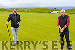 Brian O'Keeffe and Willie Murphy enjoying a game of golf in the Tralee Golf Club on Monday