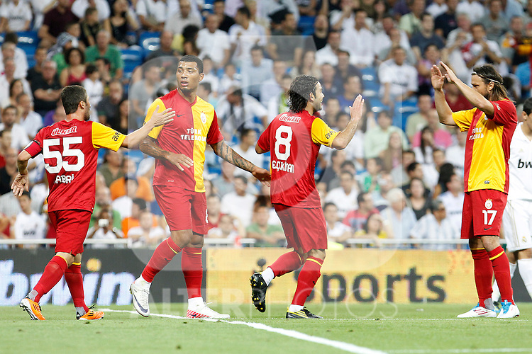 Galatasaray's Sabri, Kazim-Richards, Inan and Tomas Ujfalusi celebrates goal during Santiago Bernabeu Trophy.August 24,2011. (ALTERPHOTOS/Acero)