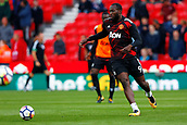9th September 2017, bet365 Stadium, Stoke-on-Trent, England; EPL Premier League football, Stoke City versus Manchester United; Romelu Lukaku of Manchester United warms up before the game