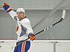 Devon Toews #46, defenseman, reacts to a puck that found its way into an empty net during New York Islanders Prospect Mini Camp at Northwell Health Ice Center in East Meadow, NY on Wednesday, June 28, 2017.