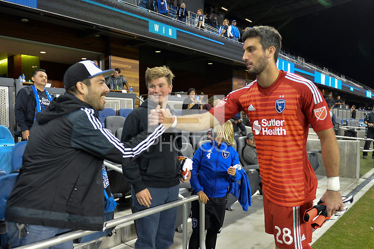 San Jose, CA - Wednesday August 29, 2018: Andrew Tarbell, fans during a Major League Soccer (MLS) match between the San Jose Earthquakes and FC Dallas at Avaya Stadium.
