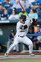 Vanderbilt Commodores outfielder Rhett Wiseman (8) at bat against the TCU Horned Frogs in Game 12 of the NCAA College World Series on June 19, 2015 at TD Ameritrade Park in Omaha, Nebraska. The Commodores defeated TCU 7-1. (Andrew Woolley/Four Seam Images)