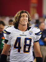 Aug. 22, 2009; Glendale, AZ, USA; San Diego Chargers linebacker Eric Bakhtiari against the Arizona Cardinals during a preseason game at University of Phoenix Stadium. Mandatory Credit: Mark J. Rebilas-
