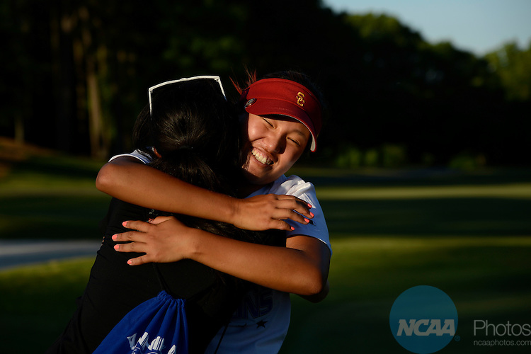 24 MAY 2013:  Rachel Dai hugs Annie Park of the University of Southern California after her victory during the Division I Women's Golf Championship takes place at the University of Georgia Golf Course in Athens, GA.  Park won the individual national title with a -10 score. Jamie Schwaberow/NCAA Photos