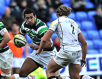Reading, England. Chris Hala'ufia of London Irish in action during the LV= Cup match between London Irish and Sale Sharks at Madejski Stadium on November 11, 2012 in Reading, England.