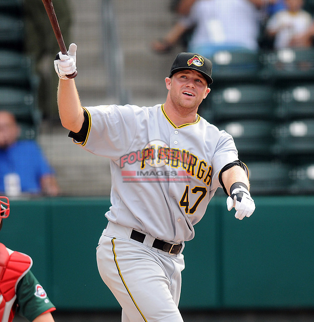Aaron Baker (47) of the West Virginia Power hits in the home run derby at the 2010 South Atlantic League All-Star Game on Tuesday, June 22, 2010, at Fluor Field at the West End in Greenville, S.C. Photo by: Tom Priddy/Four Seam Images
