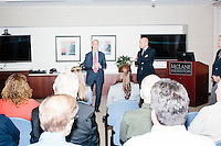 McLane Managing Director Dick Samuels (left) introduces Republican presidential candidate and South Carolina senator Lindsey Graham and Arizona senator and former Republican presidential nominee John McCain before they speak at a town hall at the offices of McLane Middleton Law Firm in Manchester, New Hampshire. McCain joined Graham for other events throughout the state over the following two days.