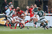 Benjamin Pienaar of London Welsh looks for a way through the Ealing Trailfinders defence during the Greene King IPA Championship match between Ealing Trailfinders and London Welsh RFC at Castle Bar , West Ealing , England  on 26 November 2016. Photo by David Horn / PRiME Media Images
