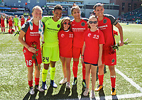 Portland, OR - Saturday September 02, 2017: Emily Sonnett, Adrianna Franch, Nadia Nadim, Christine Sinclair with the Girls Inc Girls of the Game during a regular season National Women's Soccer League (NWSL) match between the Portland Thorns FC and the Washington Spirit at Providence Park.