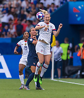 PARIS,  - JUNE 28: Sam Mewis #3 heads the ball during a game between France and USWNT at Parc des Princes on June 28, 2019 in Paris, France.
