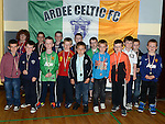 Ardee Celtic Under-8 players pictured at the club awards held in Ardee Parish Centre. Photo:Colin Bell/pressphotos.ie