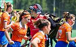 BLOEMENDAAL - Keeper Anna Garbara (MOP) na de tweede Play Out wedstrijd hockey dames, Bloemendaal-MOP (5-1)  COPYRIGHT KOEN SUYK