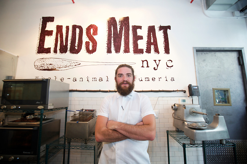 BROOKLYN, NY - SEPTEMBER 9, 2015: Ends Meat owner John Ratliff.<br /> <br /> &copy; Clay Williams / claywilliamsphoto.com