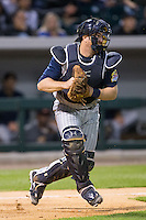 Toledo Mud Hens catcher Bryan Holaday (16) on defense during the game against the Charlotte Knights at BB&T BallPark on April 27, 2015 in Charlotte, North Carolina.  The Knights defeated the Mud Hens 7-6 in 10 innings.   (Brian Westerholt/Four Seam Images)