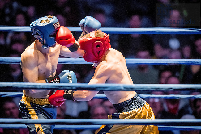 """March 3, 2017; Chip Blood (blue trunks) fights """"Sloppy"""" Joe Guilfoile (gold trunks) in the 154lb. division. Guilfoile won a unanimous decision. (Photo by Matt Cashore/University of Notre Dame)"""