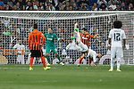 Real Madrid´s Sergio Ramos receives a fault during Champions League soccer match between Real Madrid and Shakhtar Donetsk at Santiago Bernabeu stadium in Madrid, Spain. Spetember 15, 2015. (ALTERPHOTOS/Victor Blanco)