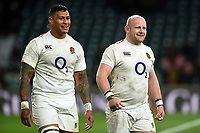 Nathan Hughes and Dan Cole of England are all smiles after the match. Guinness Six Nations match between England and Italy on March 9, 2019 at Twickenham Stadium in London, England. Photo by: Patrick Khachfe / Onside Images