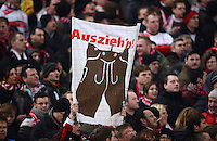 FUSSBALL   1. BUNDESLIGA  SAISON 2012/2013   19. Spieltag   VfB Stuttgart  - FC Bayern Muenchen      27.01.2013 VfB Stuttgart Fan mit einem Plakat; Lederhosen Auszieh n!