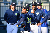 Starting pitcher Merandy Gonzalez (38) of the Columbia Fireflies warms up before a game against  the West Virginia Power on Thursday, May 18, 2017, at Spirit Communications Park in Columbia, South Carolina. Columbia won in 10 innings, 3-2. (Tom Priddy/Four Seam Images)