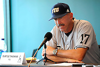 "5 June 2010:  FIU Head Coach Henry ""Turtle"" Thomas speaks with the media after the game.  The Dartmouth Green Wave defeated the FIU Golden Panthers, 15-9, in Game 3 of the 2010 NCAA Coral Gables Regional at Alex Rodriguez Park in Coral Gables, Florida."