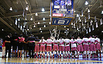 08 February 2015: Clemson wore pink uniforms as part of a cancer awareness campaign. The Duke University Blue Devils hosted the Clemson University Tigers at Cameron Indoor Stadium in Durham, North Carolina in a 2014-15 NCAA Division I Women's Basketball game. Duke won the game 89-60.