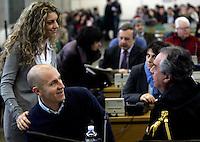 L'imputato Raniero Busco, in basso a sinistra, con la moglie Roberta Milletari', in alto a sinistra, e l'avvocato Paolo Loria, durante l'udienza per il delitto della fidanzata Simonetta Cesaroni, presso l'aula bunker di Rebibbia, Roma, 16 febbraio 2010..UPDATE IMAGES PRESS/Riccardo De Luca