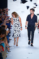Designer, Diane von Furstenberg, and creative director of Diane von Furstenberg, Yvan Mispelaere, walk the runway at Diane Von Furstenberg Show wearing Google Goggles during Mercedes Benz IMG New York Fashion Week Spring/Summer 2013 at Lincoln Center, New York, NY on September 9, 2012
