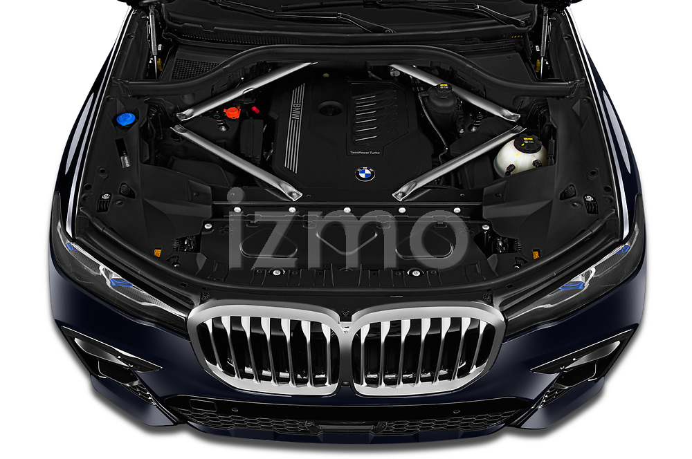 Car Stock 2019 BMW X7 M-Sport 5 Door SUV Engine  high angle detail view