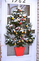 Front door Christmas tree decoration. St Paul Minnesota USA