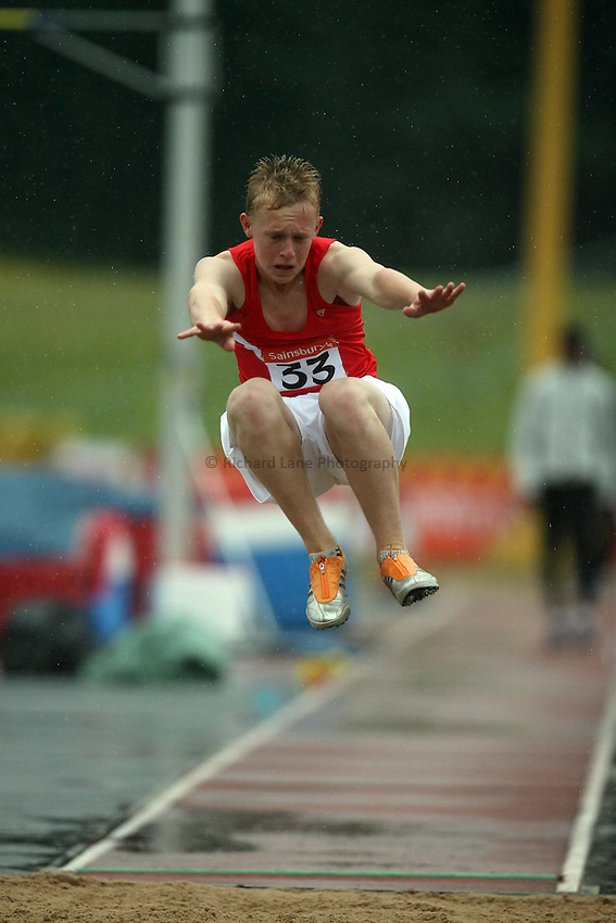 Photo: Rich Eaton/Sportsbeat Images...Sainsbury's English Schools Track and Field Championships, Birmingham. 13/07/2007. Leon Phillips of Hampshire in the junior boys long jump final