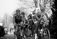 Dwars door Vlaanderen 2012.eventual winner Niki Terpstra charging up the Oude Kwaremont