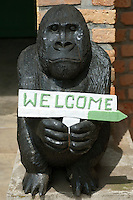 Statue entrance sign, Parc National Des Volcans, Rwanda