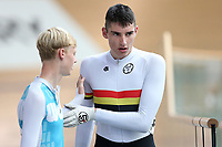 Lachlan Robertson (R) of Waikato BOP and Ethan Craine of West Coast North Island after competing in the U17 Boys Sprint race  at the Age Group Track National Championships, Avantidrome, Home of Cycling, Cambridge, New Zealand, Friday, March 17, 2017. Mandatory Credit: © Dianne Manson/CyclingNZ  **NO ARCHIVING**