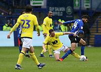 Sheffield Wednesday's Michael Hector is tackled by Blackburn Rovers' Corry Evans<br /> <br /> Photographer David Shipman/CameraSport<br /> <br /> The EFL Sky Bet Championship - Sheffield Wednesday v Blackburn Rovers - Saturday 16th March 2019 - Hillsborough - Sheffield<br /> <br /> World Copyright &copy; 2019 CameraSport. All rights reserved. 43 Linden Ave. Countesthorpe. Leicester. England. LE8 5PG - Tel: +44 (0) 116 277 4147 - admin@camerasport.com - www.camerasport.com