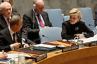 Australian Foreign Minister Julie Bishop chairs a meeting in the Security Council with UN Secretary General Ban Ki-moon at UN Headquarters in new York. photo by Trevor Collens
