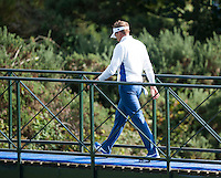 27.09.2014. Gleneagles, Auchterarder, Perthshire, Scotland.  The Ryder Cup, Day 2.  Ian Poulter (EUR) walks over the bridge to the 11th green. Saturday Fourballs.