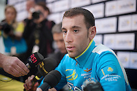 Vincenzo Nibali (ITA/Astana) interviewed at the pr&eacute;-race press conference in Leeds<br /> <br /> Tour de France 2014