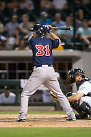 Jantzen Witte (31) of the Pawtucket Red Sox at bat against the Charlotte Knights at BB&T BallPark on July 6, 2016 in Charlotte, North Carolina.  The Knights defeated the Red Sox 8-6.  (Brian Westerholt/Four Seam Images)