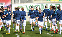 20190227 - LARNACA , CYPRUS : Slovakian team pictured during warming up of a women's soccer game between the Belgian Red Flames and Slovakia , on Wednesday 27 February 2019 at the AEK Arena in Larnaca , Cyprus . This is the first game in group C for Belgium during the Cyprus Womens Cup 2019 , a prestigious women soccer tournament as a preparation on the Uefa Women's Euro 2021 qualification duels. PHOTO SPORTPIX.BE | DAVID CATRY