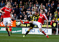 Burton Albion v Barnsley 16.4.16 .Sky Bet League 1 ....... Burtons Stuart Beavon shoots on goal