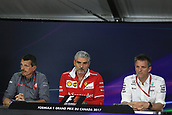 June 9th 2017, Montreal, Canada; Formula 1 Grand prix of Canada, Free practise day during the team management press conference;  James Allison -Mercedes, Maurizio Arrivabene - Ferrari, Guenther Steiner - Haas