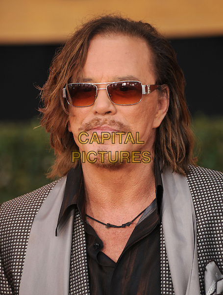 MICKEY ROURKE.The 15th Annual Screen Actor's Guild Awards held at The Shrine Auditorium in Los Angeles, California, USA..January 25th, 2009.SAG arrivals headshot portrait  sunglasses shades grey gray check checked gingham scarf goatee facial hair.CAP/DVS.©Debbie VanStory/Capital Pictures.
