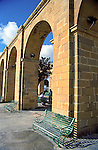arches in the Upper Barrakka Gardens in Valletta Malta